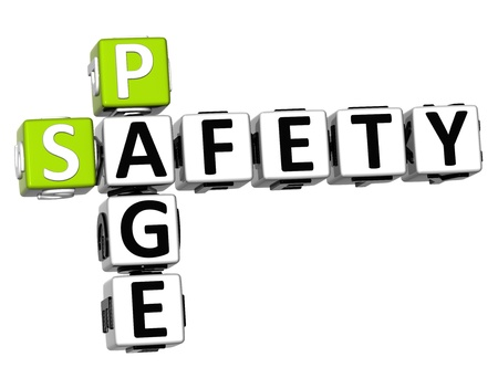 3D Safety Page Crossword on white background photo