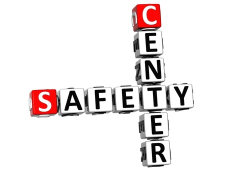 3D Safety Center Crossword on white background photo