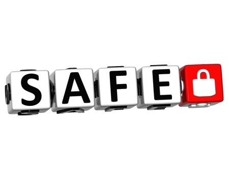 3D Safe Button Click Here Block Text over white background Stock Photo - 13925391