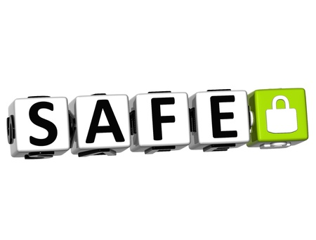 3D Safe Button Click Here Block Text over white background