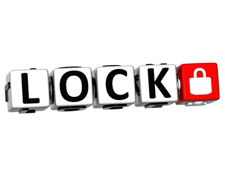 3D Lock Button Click Here Block Text over white background photo