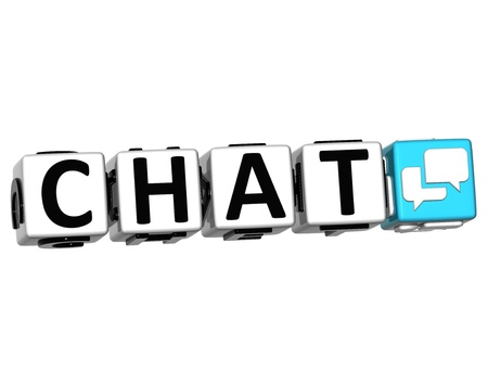3D Chat Button Click Here Block Text over white background Stock Photo - 13925396