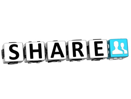 3D Share Button Click Here Block Text over white background Stock Photo - 13925388