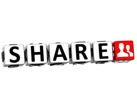 3D Share Button Click Here Block Text over white background Stock Photo - 13925390