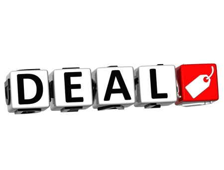 3D Deal Button Click Here Block Text over white background