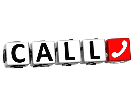 3D Call Button Click Here Block Text over white background Standard-Bild