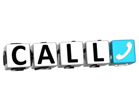 3D Call Button Click Here Block Text over white background photo