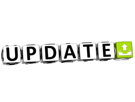 3D Update Button Click Here Block Text over white background Stock Photo - 13925362