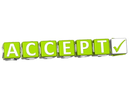 3D Accept Button Click Here Block Text over white background photo