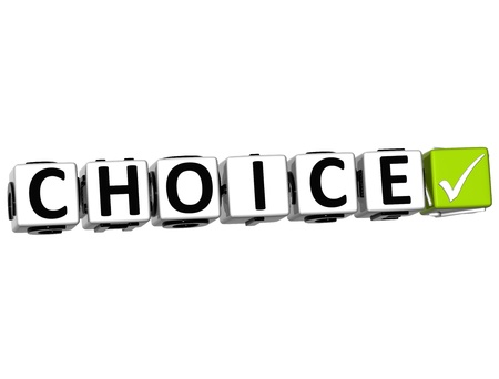 3D Choice Button Click Here Block Text over white background Stock Photo - 13925381