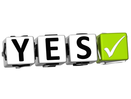 3D Yes Button Click Here Block Text over white background Stock Photo - 13925425