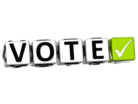 vote here: 3D Vote Button Click Here Block Text over white background Stock Photo