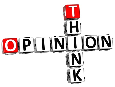 3D Think Opinion Crossword on white background photo