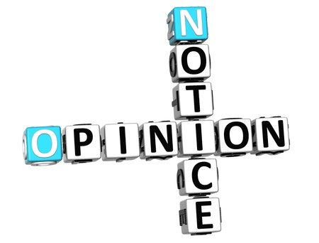 3D Notice Opinion Crossword on white background photo