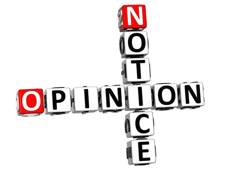 3D Notice Opinion Crossword on white background