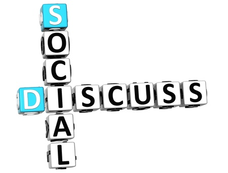 3D Discuss Social Crossword on white background Stock Photo - 13925437