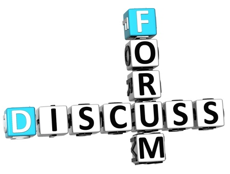 3D Discuss Forum Crossword on white background Stock Photo - 13925470