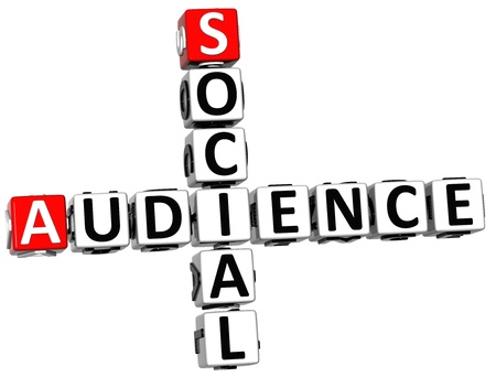 3D Social Audience Crossword on white background photo