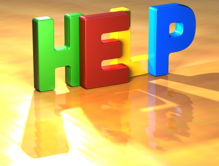 diferent: Word Help on yellow background (high resolution 3D image)