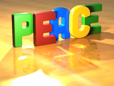 Word Peace on yellow background (high resolution 3D image) photo