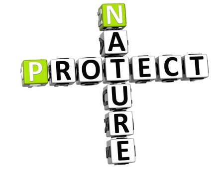3D Nature Protect Crossword on white background photo