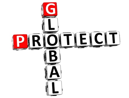 3D Global Protect Crossword on white background
