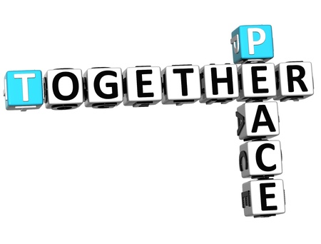 3D Peace Together Crossword on white background photo