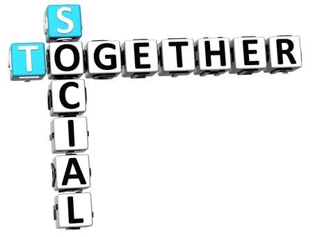 3D Social Together Crossword on white background photo