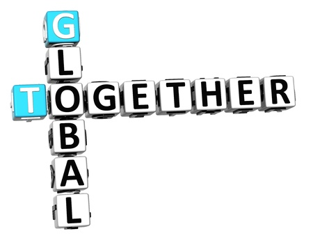 3D Global Together Crossword on white background photo