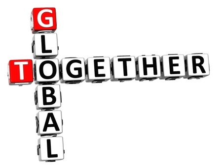 3D Global Together Crossword on white background Stock Photo - 13925547