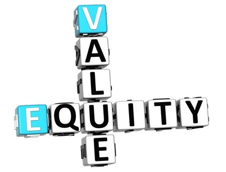 equidad: Valor 3D Crucigrama de Equidad en el fondo blanco
