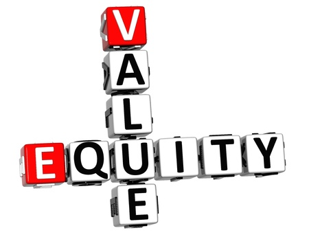 3D Value Equity Crossword on white background photo