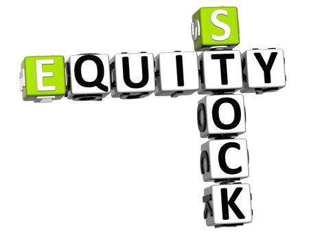equity: 3D Stock Equity Crossword on white background