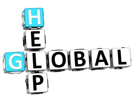 3D Global Help Crossword on white background photo
