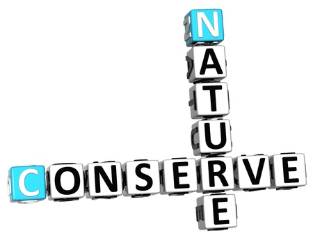 3D Nature Conserve Crossword on white background photo