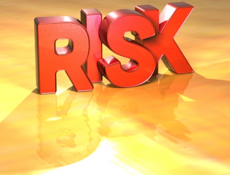 Word Risk on yellow background (high resolution 3D image) Stock Photo - 13955470