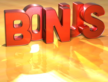extra money: Word Bonus on yellow background (high resolution 3D image) Stock Photo