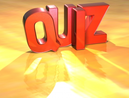 Word Quiz on yellow background (high resolution 3D image) photo