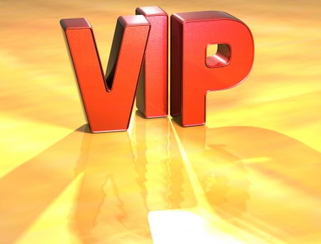 Word VIP on yellow background (high resolution 3D image)