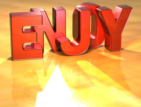 Word Enjoy on yellow background (high resolution 3D image) Stock Photo - 13955468