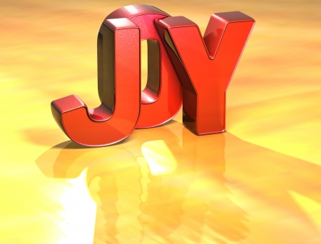 Word Joy on yellow background (high resolution 3D image) Stock Photo - 13955456