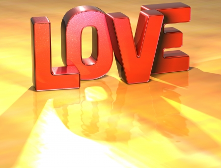 wariety: Word Love on yellow background (high resolution 3D image) Stock Photo