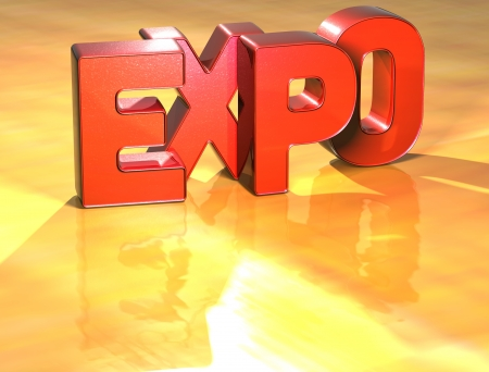 Word Expo on yellow background (high resolution 3D image)