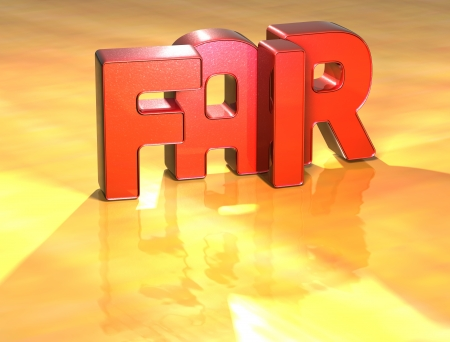 Word Fair on yellow background (high resolution 3D image) photo