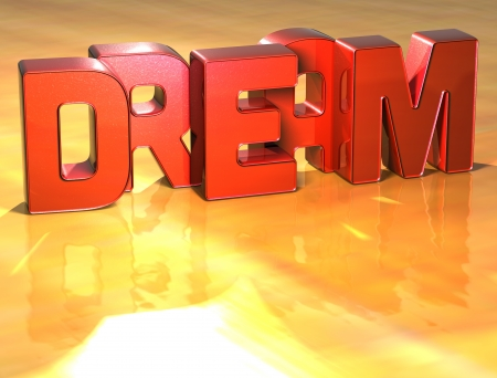 Word Dream on yellow background (high resolution 3D image) photo