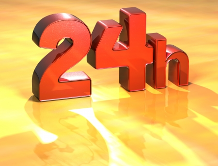 24h: Word 24h on yellow background (high resolution 3D image)