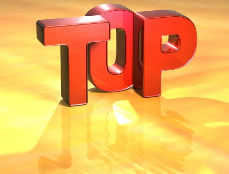 Word Top on yellow background (high resolution 3D image) photo