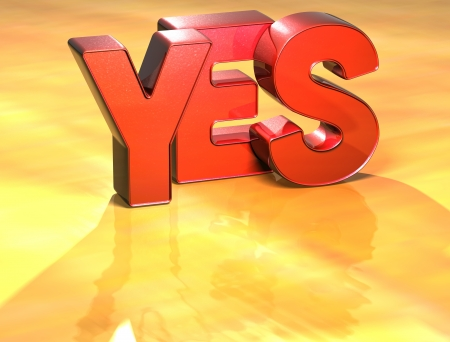 Word Yes on yellow background (high resolution 3D image) Stock Photo - 13963376