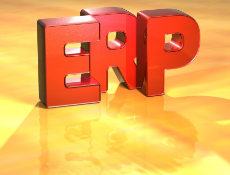 Word Erp on yellow background (high resolution 3D image) photo
