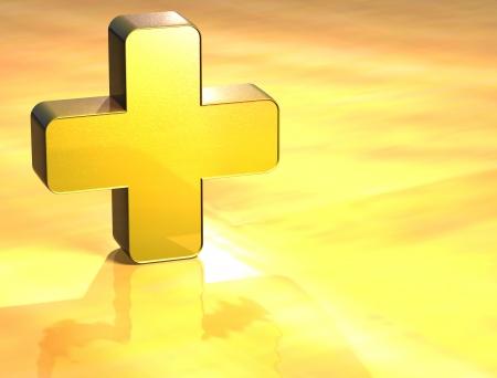 firstaid: 3D de primeros auxilios Oro Sign sobre fondo amarillo